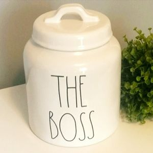"""💕 NWT. RAE DUNN, """"THE BOSS"""", Covered Canister"""